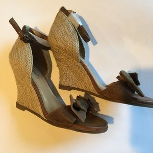 Fergie suede/leather/straw sandals. Brand new